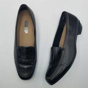 Munro Black Leather Block Heel Loafers